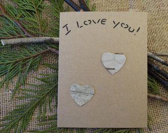 Birch bark card, I love you card,  birch tree card,greeting card, anniversary card, card, special occasion card,FREE ship w/other items