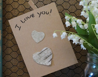 Birch bark card, I love you card, birch tree card, greeting card, anniversary card, card, special occasion card,FREE ship w/other items