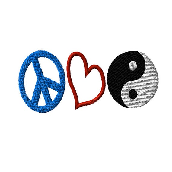 Peace Sign Heart Yin Yang Symbol Machine Embroidery Design Etsy