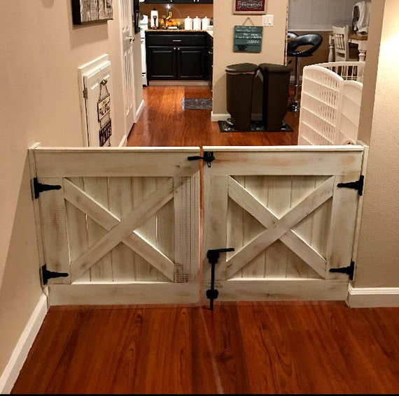 Double Door Rustic Barn Door Style Baby Dog Gate Etsy