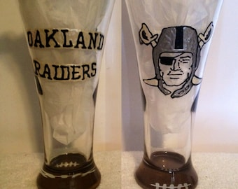 9bec91e05890 Oakland Raiders Beer Pilsner Glass Hand Painted