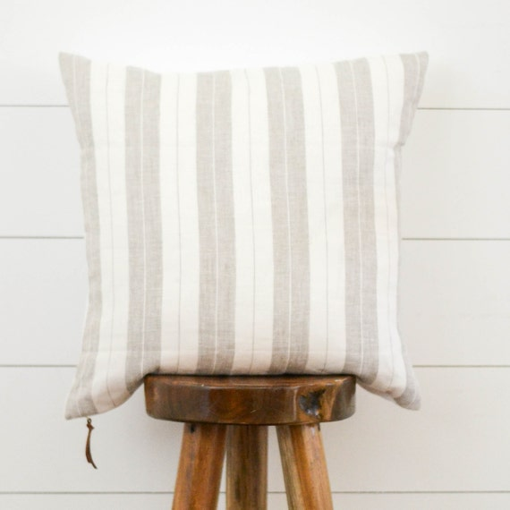 Beige Stripe Pillow Cover Neutral