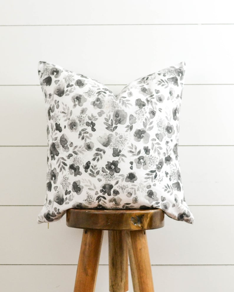 Black White Floral Pillow Watercolor Floral Pillow Cover Etsy