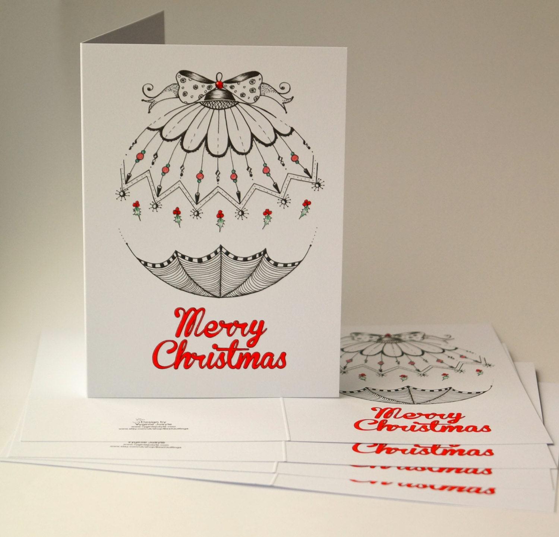 Zentangle Christmas Cards Merry Christmas | Etsy