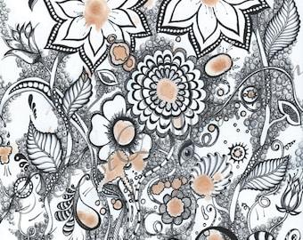 "Original Zentangle Art ""Coffee Flowers"" Print A4/A3 size Wall Deco Wall Art Fine Art Print"