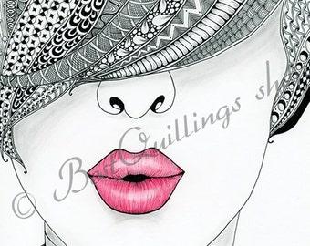 "Original Zentangle Art ""Kiss Me"" Print A4/A3 size Wall Art Wall Deco Fine Art Print"