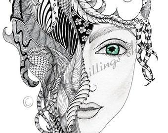 """Original Zentangle Art """"Chica"""" Print A4/A3 size Wall Art Wall Deco Fine Art Print"""