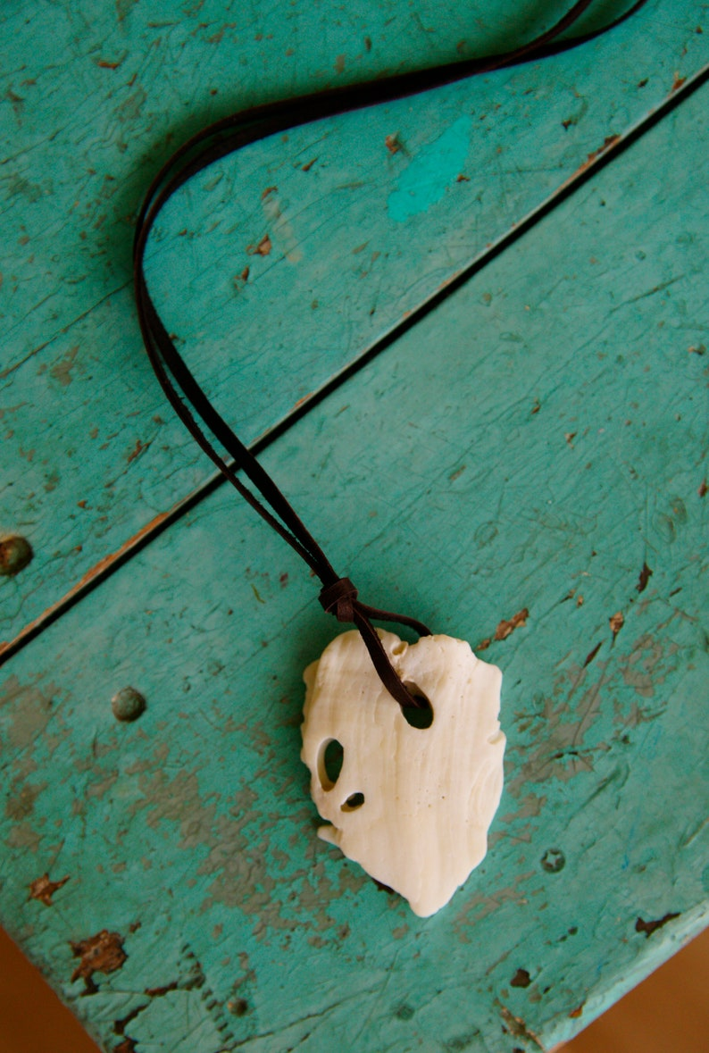 Heart Piece of Shell Necklace ~ leather cording ~ ocean beach island jewelry boho style festival
