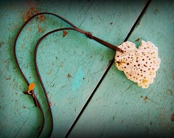 Heart shaped Sea Shell Necklace ~ ocean beach island jewelry ~ bohemian style ~ unique piece