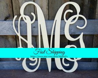 Wooden Monogram - Wood Monogram - Monogram Door Hanger -  Monogram Wreath - Housewarming Gift - Wedding Gift - Personalized Gift