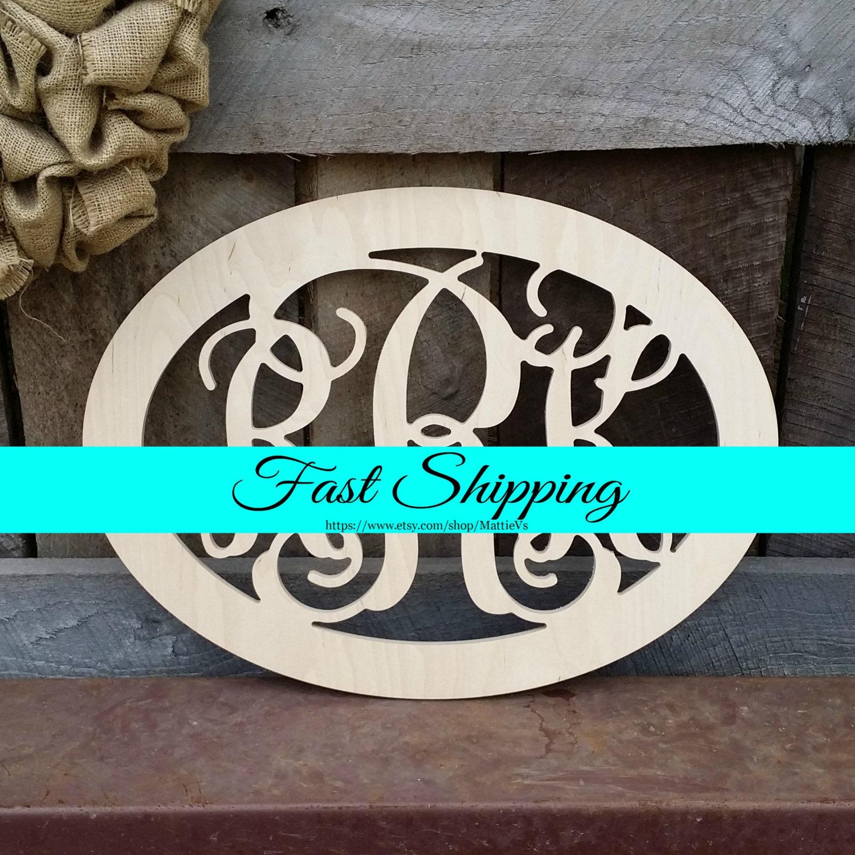 24 wooden monogram unfinished wood monogram wood letters monogram home decor wall hanging monogram door hanger