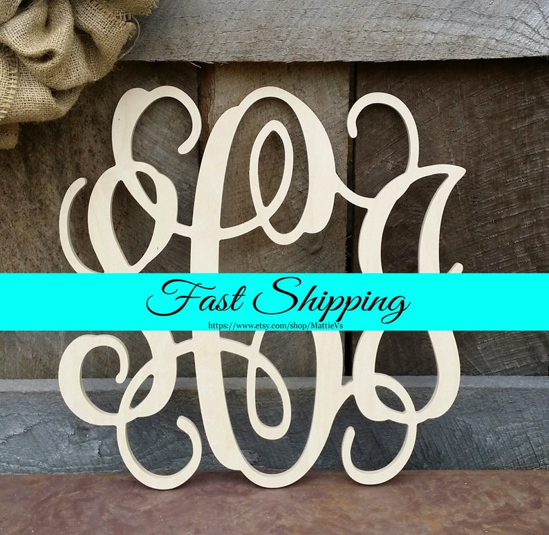 FREE SHIPPING  Wooden Monogram  Unfinished Vine Script image 0