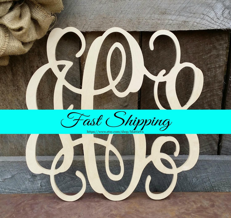 24 wooden monogram unpainted vine script monogram wedding monogram wooden letters nursery decor