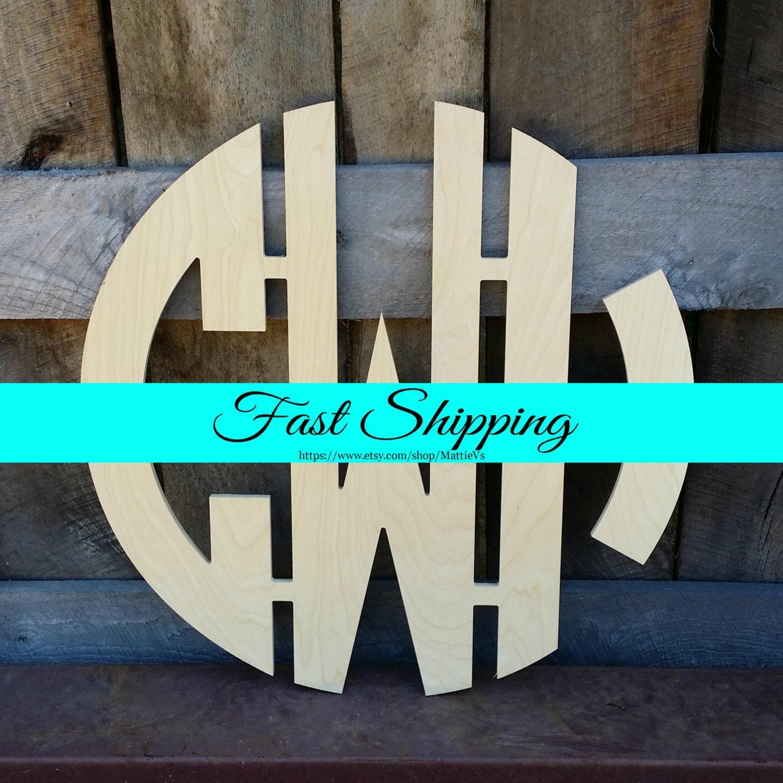 12 wooden monogram unfinished wood monogram circle monogram wedding monogram wood letters monogram door hanger nursery monogram