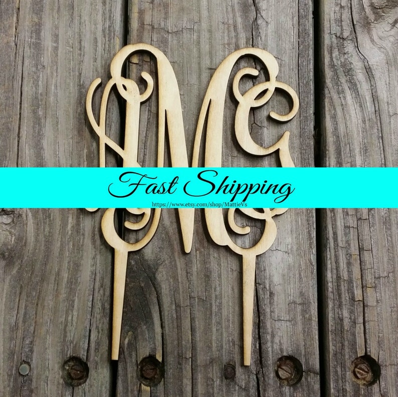 FREE SHIPPING   Cake Topper  Unfinished Wooden Monogram image 0