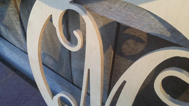 Unfinished Vine Script Monogram Monogram Wedding Guest Book Wooden Monogram in Circle Border Monogram Door Hanger FREE SHIPPING!