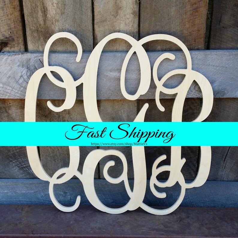 FREE SHIPPING  24 Wooden Monogram  Unfinished Wood image 0