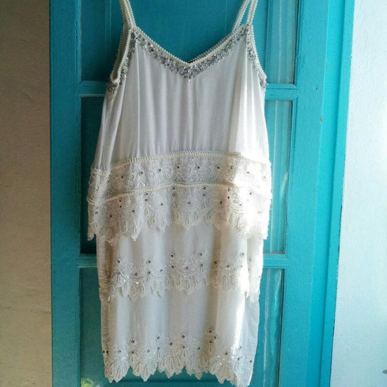 147cfbd73593 DIVINO conjunto blanco algodón vestido con gradas a hippie de encaje ojal  de boda