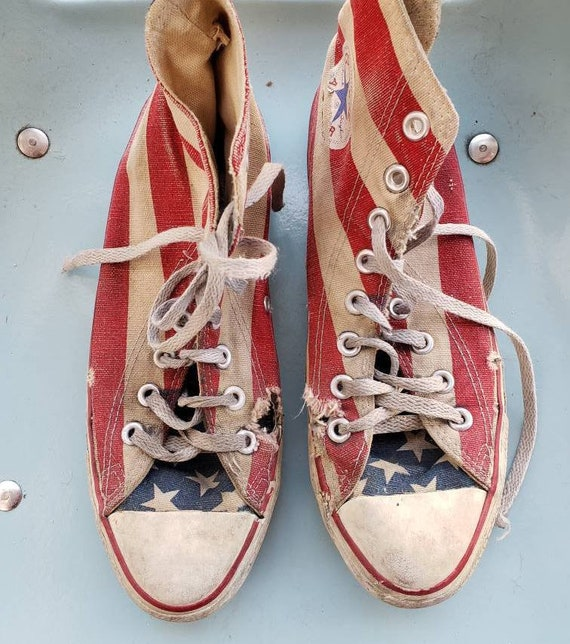Vintage 80s 90s Converse all star hi tops m7w9 flag trashed destroyed made in USA stars stripes american flag