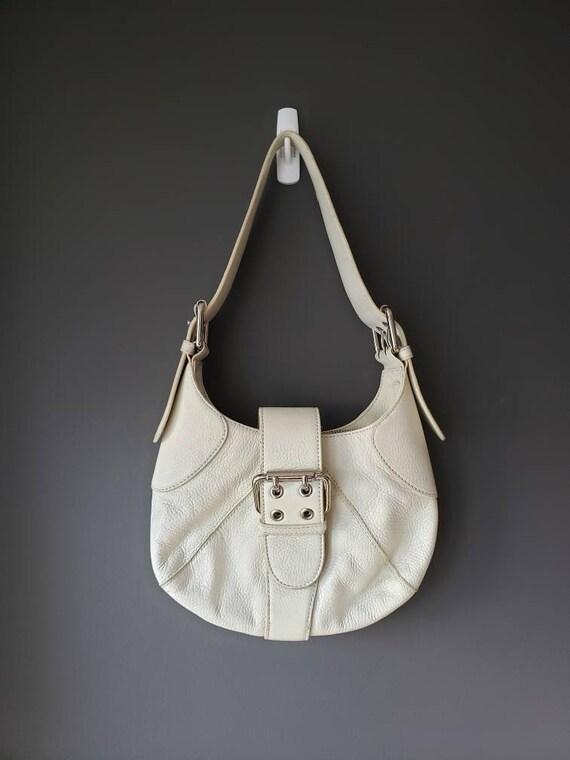 cream leather FURLA mini handbag purse hobo y2k sh