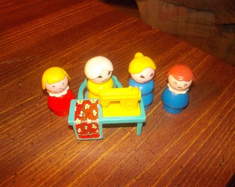 vintage fisher price little people sewing machine and people