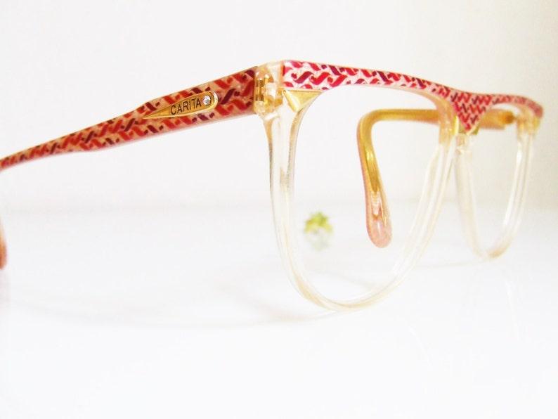 9f7e602c4799 CARITA Paris frame/glasses lucite/ glasses red and golden/ | Etsy