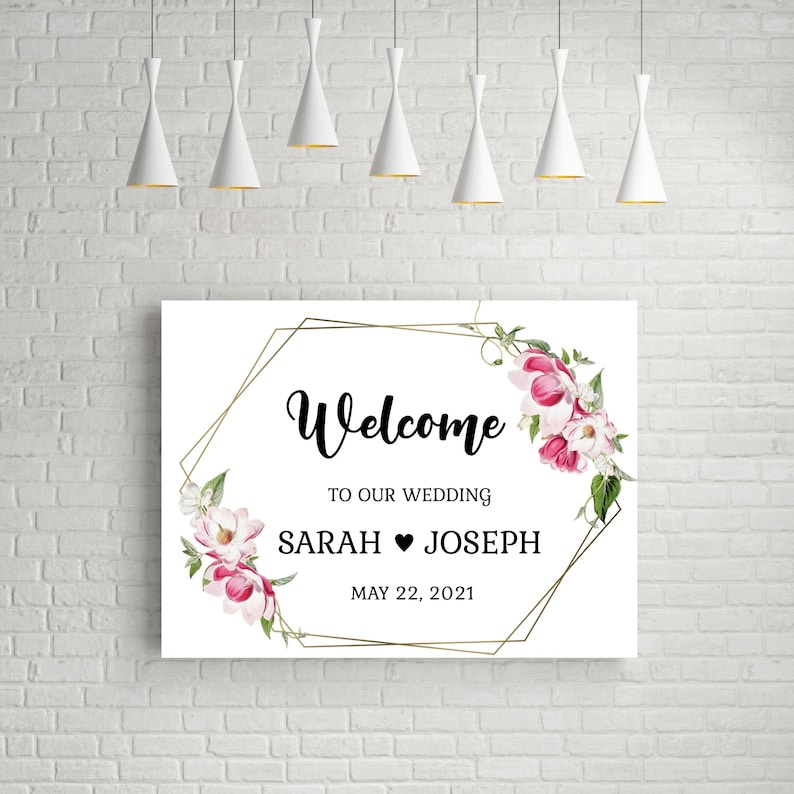 Wedding Welcome Sign Printable Script Floral Welcome Poster Template Calligraphy Welcome Sign Instant Download Corjl Sign 18x24 Editable