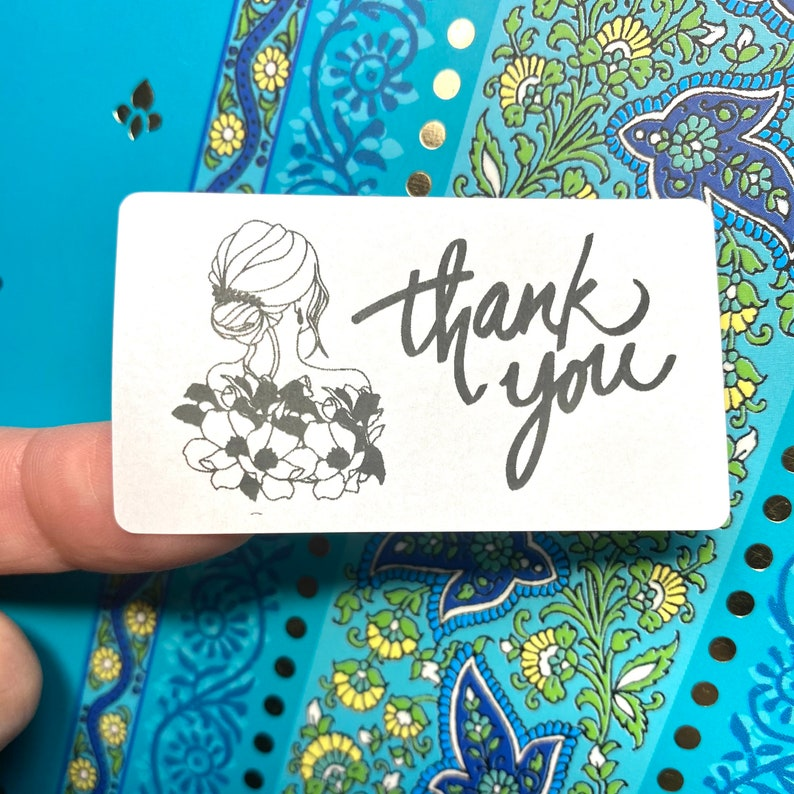 Thank You Business Labels 2-14x1-14 Beauty Packaging Labels Hair Stickers Floral Stickers Line Art Woman