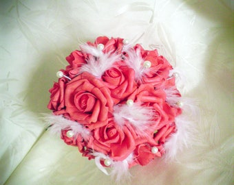 Red bouquet of roses, feathers and beads choice of color