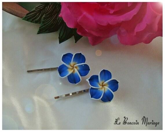 Pince Cheveux Fleur De Frangipanier Bleu Roi Couleur Au Etsy