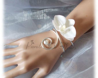Bracelet wire of aluminum silver, white Orchid, White Pearl adorned with a diamond to customize