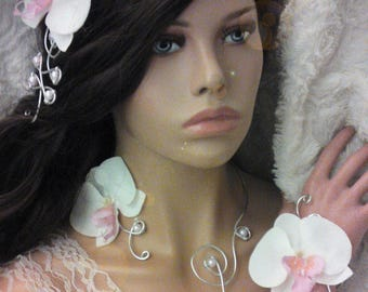 Adornment jewelry pink blush/silver, beads, Orchid and aluminum to customize colors to choose from