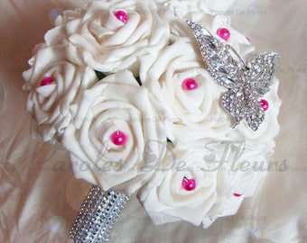 Jewelry Butterfly bridal bouquet roses and pearls to customize