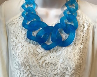 Translucent Blue Clear Chunky Chain Link Housewife Resin Statement Necklace