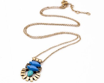 Trendy Turquoise Royal Blue Boho Jewel Distressed Statement Pendant Tassel Necklace