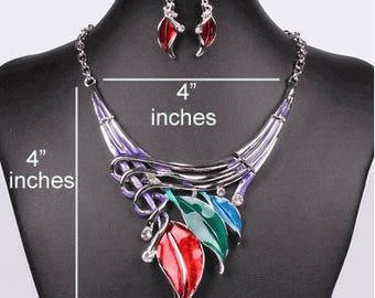 Mutlicolor Leaf Statement Necklace