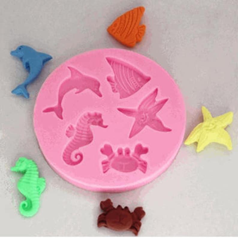 Sea Creatures Silicone Mold  Seahorse Dolphin Star Fish & image 0