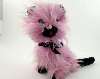 Vintage 50s Pink Cat Plushie, Cat Plush Toy, Cat Stuffed Animal, Cat Gifts For Girls, Crazy Cat Lady Gift, Mid Century Cat, Kitten Gift