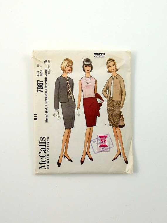Vintage 60s Womens Business Suit Sewing Pattern McCalls 7987 | Etsy