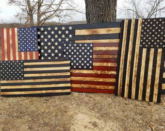 Handmade Wood Flag,USA,Military Decor