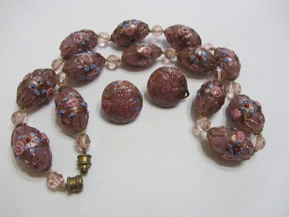 Vintage Murano Italian Pink Glass and Brown Beaded necklace with Matching Earrings