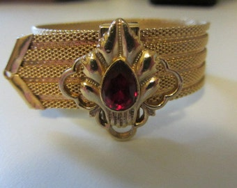 Smashing Art Nouveau Vintage revival Gold tone Mesh Red Rhinestone Belt Bracelet