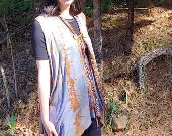 Women/'s Size Extra Large RayonSpandex Fold Over Waist Wrap Skirt Beautiful Elemental Copper Custom Dyed Wearable Artwork Lovely!