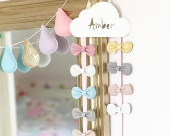 Hair Bow Hanger White  - Hair Bow - Holder - Personalised - Hair Clips - Cloud - Hair Accessory Storage - Hair Clips - Sleepy Eyes