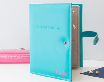The Little Book of Earrings - Book for Storing Earrings - Earring holder - 9 colours - add name to apply to book - Earring Stand -