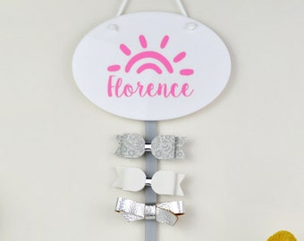 Personalised Sunshine Hair Bow Holder - One or Two Ribbons