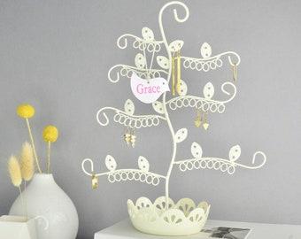 Personalised Flower Earring Tree - Jewellery Dish in Cream - Earring Holder - Earring Stand - Earring Dish - Earring Storage