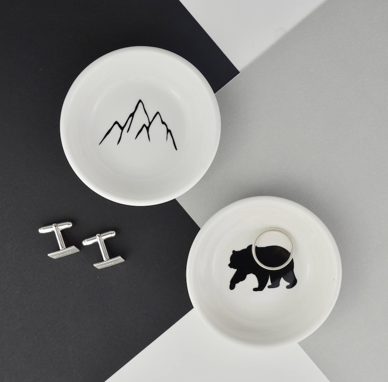 96c0f73f3a13b Cufflink Dish - Adventure Gift - Mountains or Bear - Cufflink Holder - Mens  Jewellery Dish - Dad Cufflinks - Dad Gift - Adventure Dad