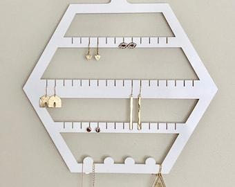 Hexagon Earring Holder - White Acrylic jewellery Display Organiser