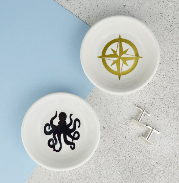 093d66d19532d Cufflink Dish - Nautical Gift - Octopus or Compass - Cufflink Holder - Mens  Jewellery Dish - Dad Cufflinks - Dad Gift - Ocean gift - Navy